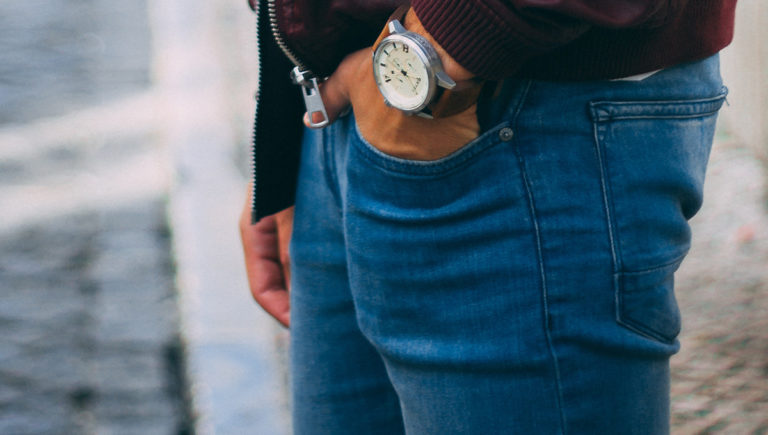 man with jeans and watch