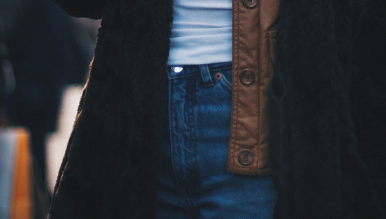 jeans and white shirt close up