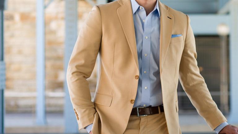 man in light brown jacket